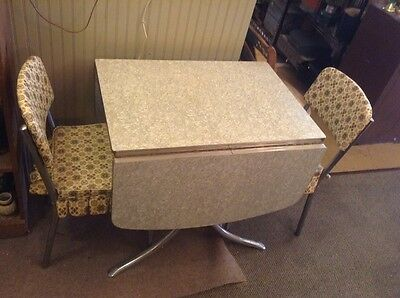 Vintage Retro Silver Chrome Formica Dinette Drop Leaf Table & Two Chairs
