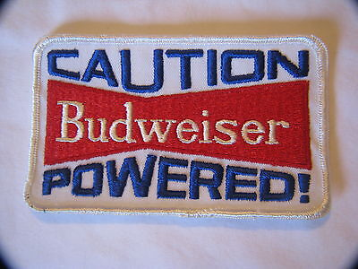 Vintage Caution Budweiser Powered! Embroidered Patch