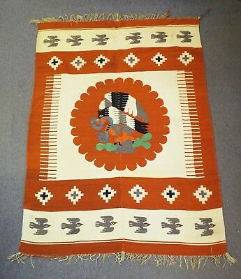 "Antique LARGE 57"" x 84"" SOUTH AMERICAN MEXICAN WOVEN TAPESTRY RUG Birds Eagle"