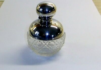 Antique Silver Mounted Cut Glass Perfume Bottle. Birmingham.1911 Complete With S
