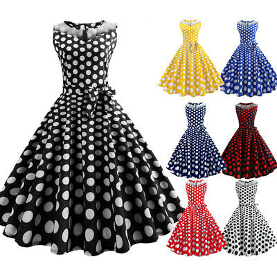 Women's Ladies 50s Style Vintage Mesh Rockabilly Evening Party Retro Swing Dress