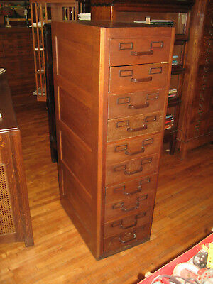 Antique Mission Oak Globe Wernicke Paper/Card/Flat File Cabinet 10 Drawers