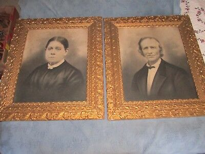 Pair of Antique Victorian Gold Picture Frames with Man & Woman Portraits