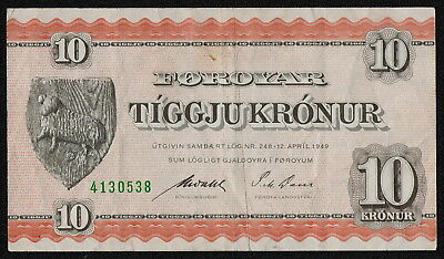 FAEROE ISLANDS (P14c) 10 Kronur 1949 VF/VF+
