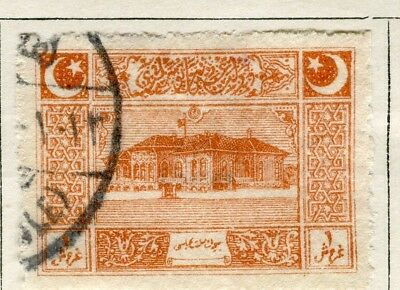 TURKEY; 1922 early Parliament issue fine used 1pi. value