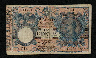 ITALY (P023a) 5 Lire ND(1904) F+ Series #744