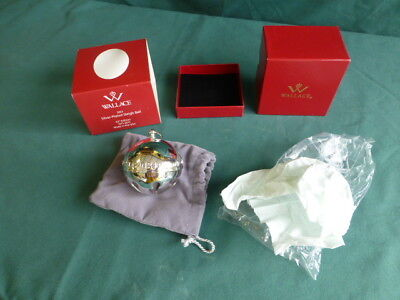 2013 Wallace Silver Plated Sleigh Bell Christmas Ornament New Old Stock In Box