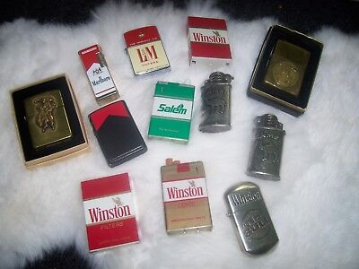 Lot of 12 Vtg Cigarette lighters Zippo Marlboro Camel Salem Winston Collection