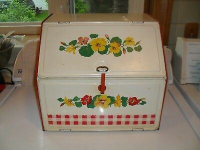 Vintage tin bread box, red and creme with yellow & orange flowers, very clean