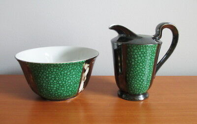 Sterling Silver on Porcelain Creamer + Sugar Bowl Green White Marked Foreign
