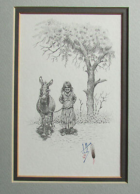 Painting by Navajo Calvin Toddy Original Signed Child with Burro Framed