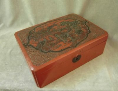 Vintage Chinese WOOD BOX Red Lacquer Cinnabar Carved Lid