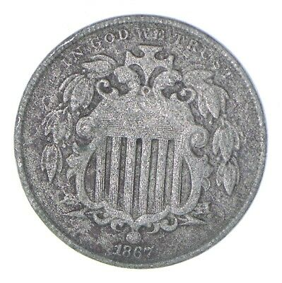 First US Nickel - 1867 Shield Nickel - US Type Coin - Over 100 Years Old! *460