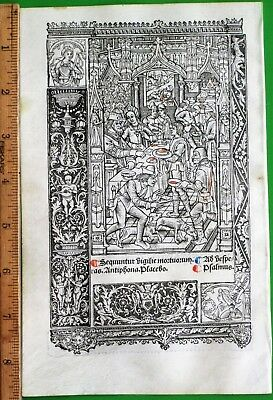 Large printed medieval BoH,Miniature with deco Border,Simon Vostre,c.1512