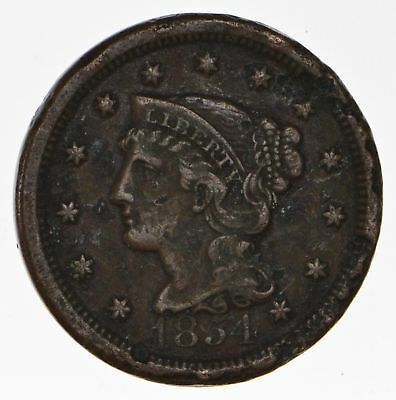 160 Years OLD - 1854 - US Type Coin Braided Hair Large Cent - Nice Shape *691