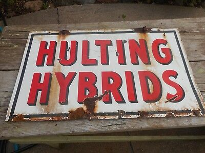 Vintage PORCELAIN HULTING HYBRIDS SEED CORN FARM Advertising 2-Sided SIGN