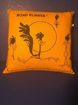 Vintage Warner Brothers Cartoon Road Runner Pillow Television