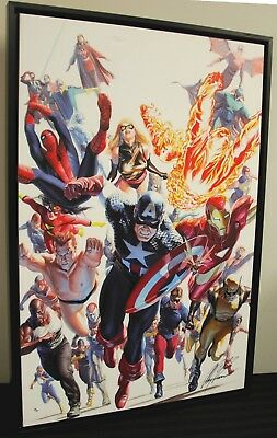 "MARVEL AVENGERS INVADERS ON CANVAS SIGNED ALEX ROSS #35/50 36""x48"" SLIGHT DAMAGE"