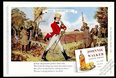 1947 Johnnie Walker Scotch Whisky bird hunting Clive Uptton art vintage print ad