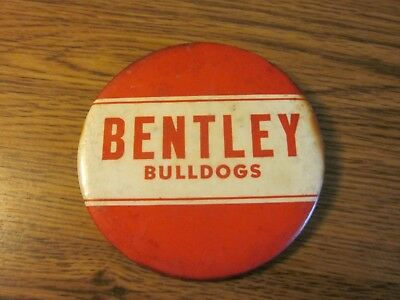 Rare Vintage Bentley Bulldogs Button Pin Highschool L@@k *free Shipping*