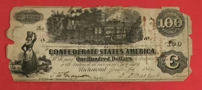 1862 $100 US Confederate States of America! Rough! Old US Paper Money Currency