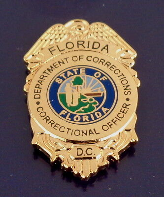 "Florida Department of Corrections GOLD 7/8"" Mini Badge Lapel Pin FL DOC police"