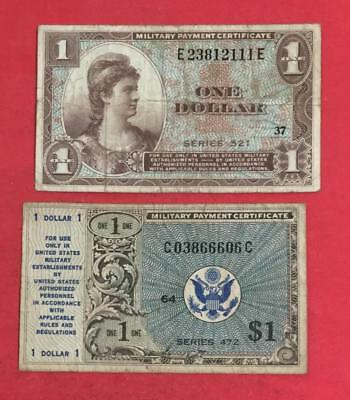 Military Payment Certificate $1 Series 521 & Series 472 MPCs Set of 2 Currency