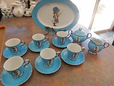 Vintage Holly Hobbie Blue Girl Tea Set Cups Saucers Sugar Bowl And Milk Jug +*