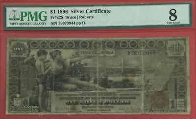 """1896 $1 US """"EDUCATIONAL"""" SILVER Certificate PMG Very Good 8! Hard to Find!"""
