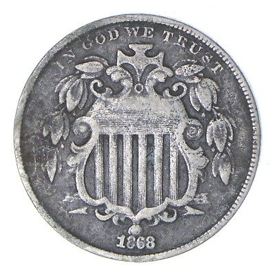 First US Nickel - 1868 Shield Nickel - US Type Coin - Over 100 Years Old! *459
