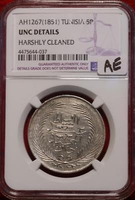 AH1267(1851) Tunisia 5P Coin NGC Graded UNC Details Harshly Cleaned