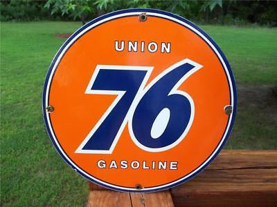 Porcelain Union 76 Gasoline Sign Gas Station Pump Plate! Round Advertising Sign