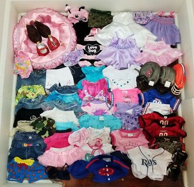BABW Huge Lot of Build A Bear Girl/Boy Clothes Shoes & Accessories 60+ Pc Lot