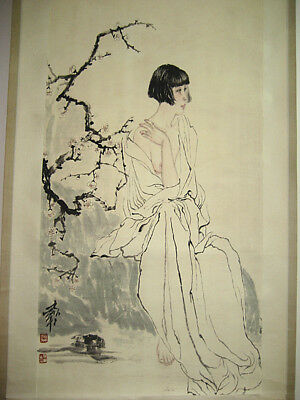 Excellent old Chinese Scroll Painting By He Jiaying: Lady
