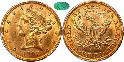 1907 Liberty Head $5 Gold Half Eagle, Lustrous Orange Gold Patina, PCGS MS63 CAC