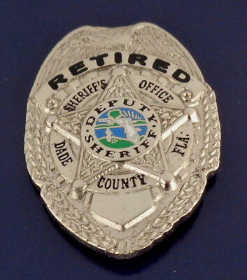 RETIRED Dade County Florida Sheriff Office Mini Badge Lapel Pin police SILVER
