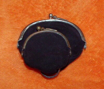 Antique Victorian / Edwardian Era Leather Coin Purse - Two Section - Clip Clasp
