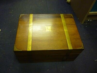 Good Victorian Brass Bound Rosewood Writing Slope With Secret Drawers