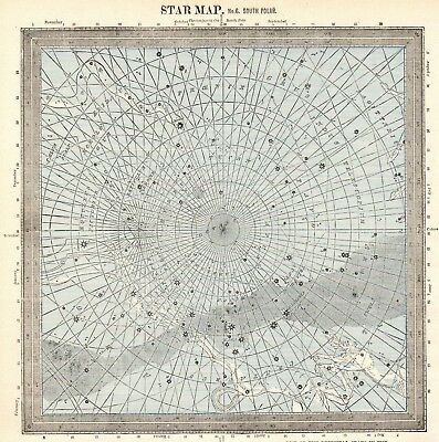 1888 Antique Constellation Map Star Map Vintage Astronomy Zodiac Print 5280d