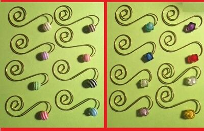 8 Fancy Ornament Hooks hangers gold with beads 2 choices mixed colors