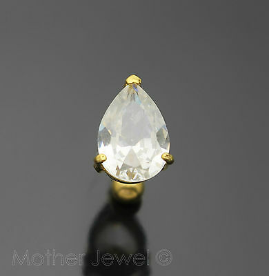 14G Clear Pear Cz Reverse Yellow Gold Plate Surgical Steel Navel Belly Bar Ring