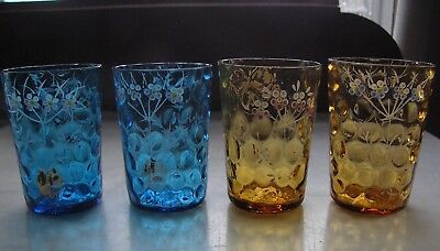 4 Antique Blue Yellow Hand Painted Enameled Juice Glasses