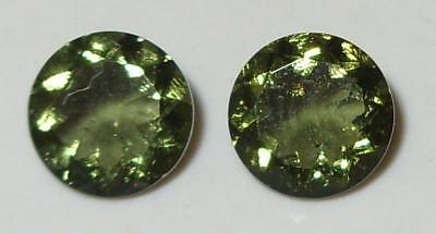 2.80ct Pair Faceted TOP QUALITY Natural Czechoslovakia Moldavite Round Cut 8mm