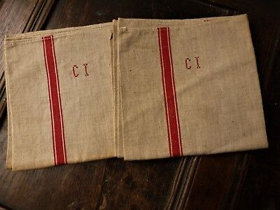 Pair Of French Torchon / Kitchen Cloths Hand Embroidered Monogram C.i.