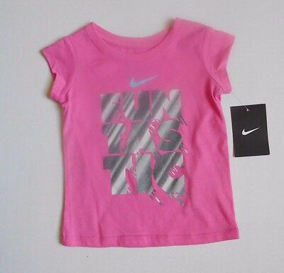NWT Girls Nike Pink ~ Fun Tas Tic ~Short Sleeve Shirt sz 2t