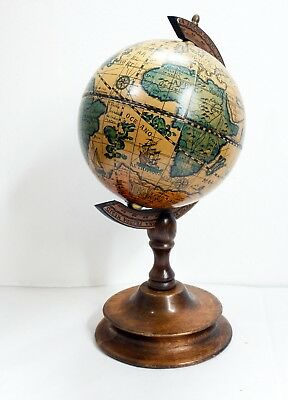 Beautiful Desktop Globe with Turned Wooden Stand - Repro Antique - 29cm Tall