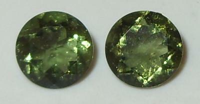 2.11ct Pair Faceted TOP QUALITY Natural Czechoslovakia Moldavite Round Cut 7mm