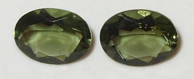 1.93ct Pair Faceted TOP QUALITY Natural Czechoslovakia Moldavite Oval Cut 8x6mm