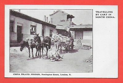 Travelling by Cart in North China Vintage Postcard China Inland Mission