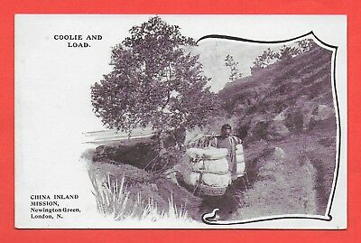Coolie and Load China Vintage Postcard China Inland Mission